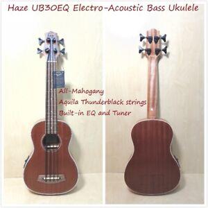 Haze UB30EQ All-Mahogany Electro-Acoustic Bass Ukulele w/Built-in EQ/Tuner+Strap