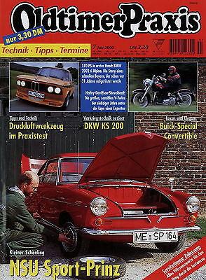 Oldtimer Praxis 2000 7/00 Bmw 2002ti Alpina Buick 46c Nsu Sport-prinz Shovelhead Geeignet FüR MäNner Automobilia Frauen Und Kinder