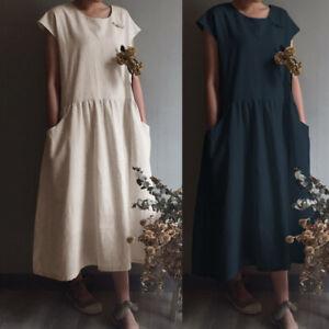 UK-8-26-Women-Oversize-Loose-Cotton-Maxi-Long-Swing-Beach-Party-Kaftan-Sun-Dress