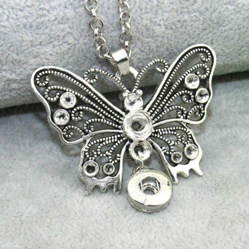 Snap Bouton Colliers Bijoux Chaîne Longue Papillon 60 cm 12 mm Snap Boutons Rétro