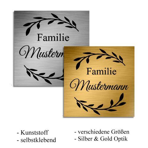 Türschild Klingelschild Briefkastenschild Namensschild selbstklebend inkl Gravur