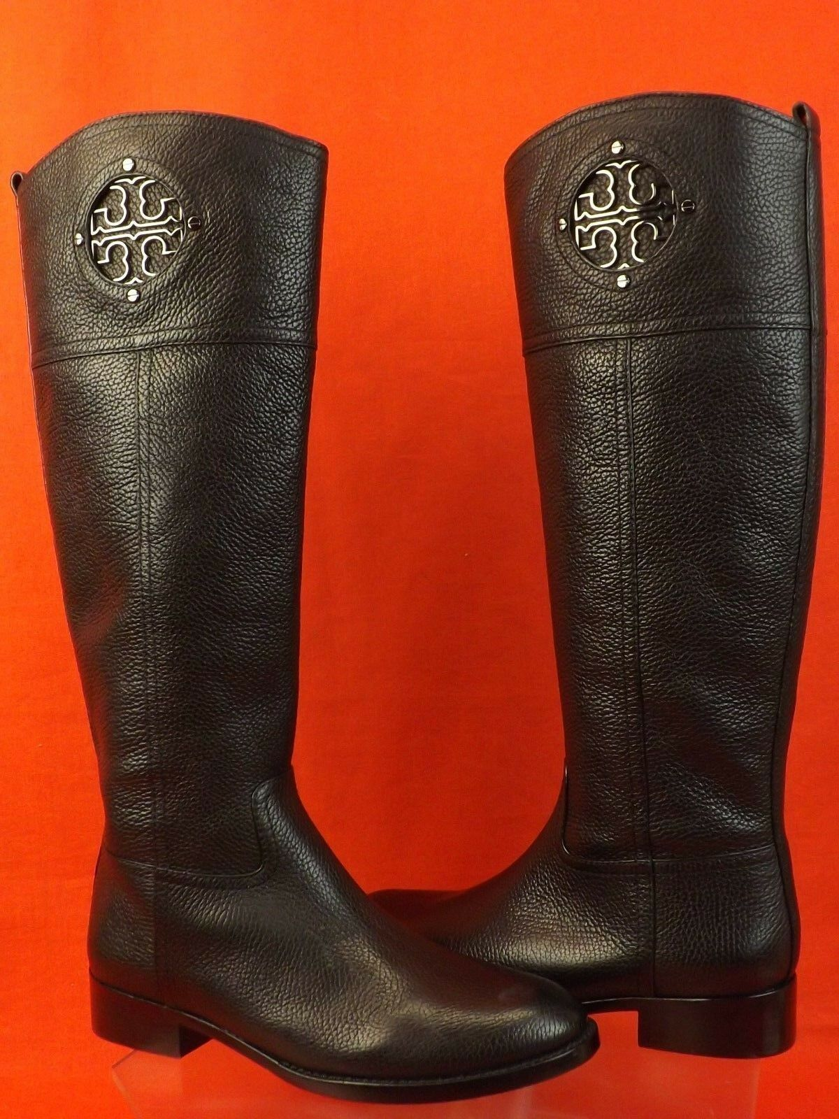 NIB NIB NIB TORY BURCH KIERNAN schwarz TUMBLED LEATHER REVA TALL RIDING Stiefel 7.5  495 8fa2fa