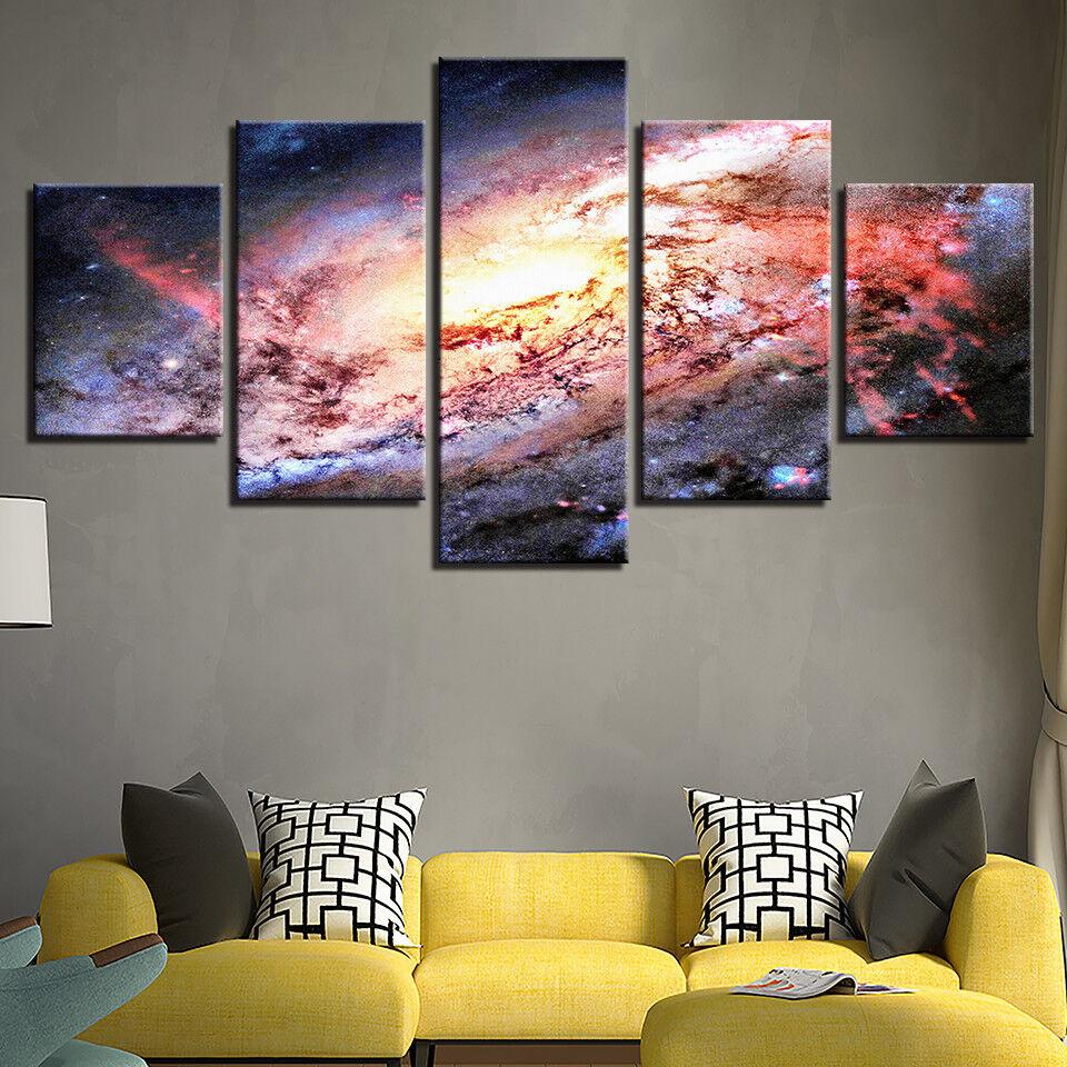 Universe Space Galaxy Nebula 5 Panel Canvas Print Wall Art