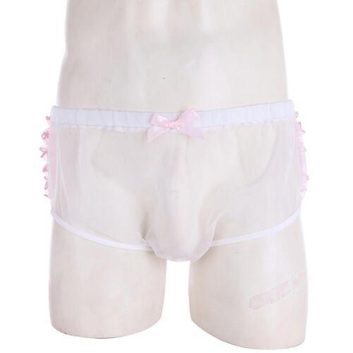 Hommes Lingerie Froncée Volants Dentelle Culottes String voir à travers Sissy Culottes Sous-vêtements