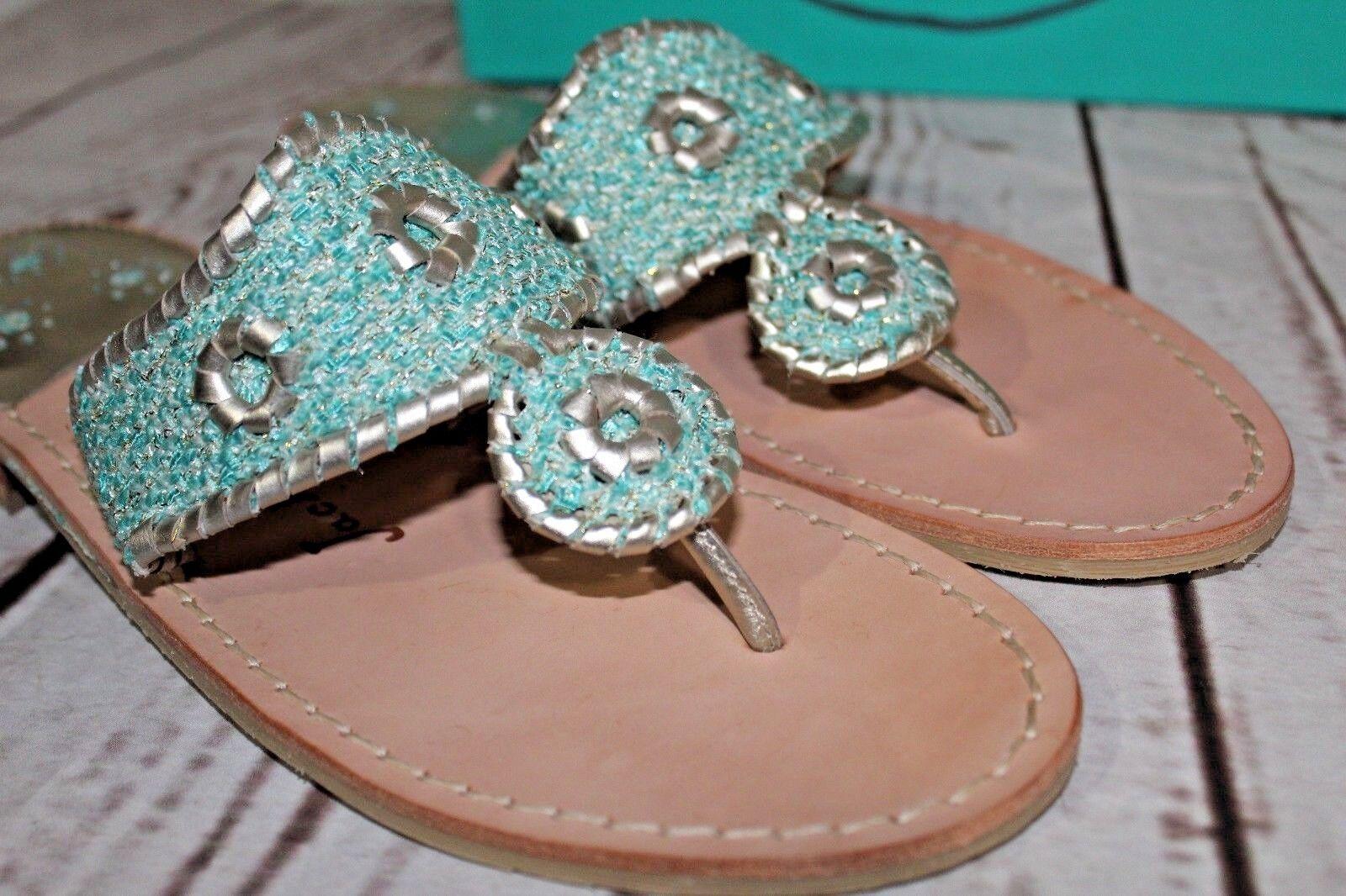 JACK ROGERS Genevieve Sandales thongs/Flip Flop Sz 10 M Blau Platinum Leder NEU