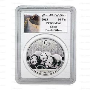 New 2013 Chinese Silver Panda 1oz PCGS MS69 Graded Coin (Great Wall Label)