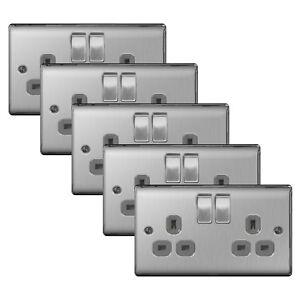 5-x-BG-Nexus-NBS22G-Brushed-Steel-Satin-Chrome-13Amp-Double-Plug-Socket-2-Gang