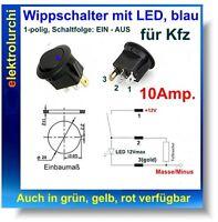 Wippschalter für Kfz mit LED blau, 1-polig, 1xEIN, 10A, 12VDC
