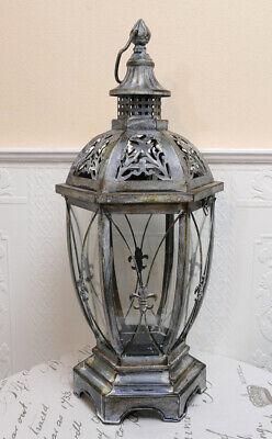 Laterne Windlicht Vitrine Gewächshaus grau Shabby Landhaus Vintage Metall 57cm