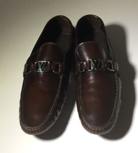 0347f24b7874  775 LOUIS VUITTON Brown Leather Classic Driver Shoes Mens Sz LV 8 ...