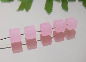 ROSA-Acryl-WURFEL-Kunststoff-8x8-mm-MATT-10-Stueck-Wuerfel-Schmuck