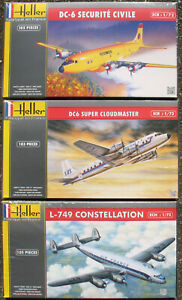 Heller-80330-80315-80310-2x-DC-6-L-749-Constellation-1-72-Flugzeug-Kit