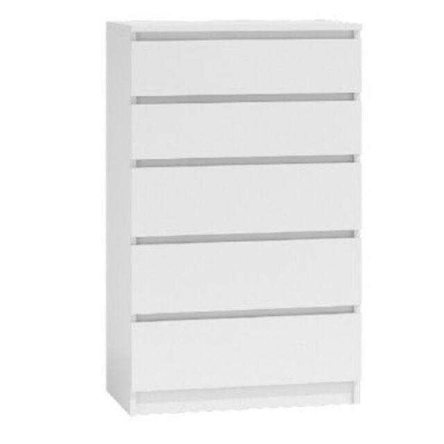 Kommode mit 5 Schubladen Sideboard weiß Anrichte holz Möbel Schubladenschrank