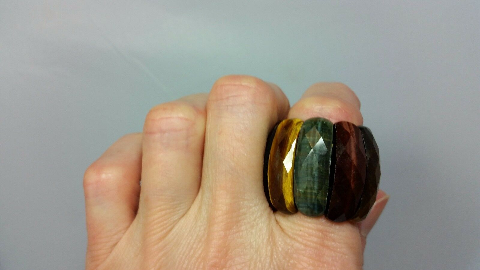 Genuine Faceted Tiger's Eye Stretch Ring Size 11