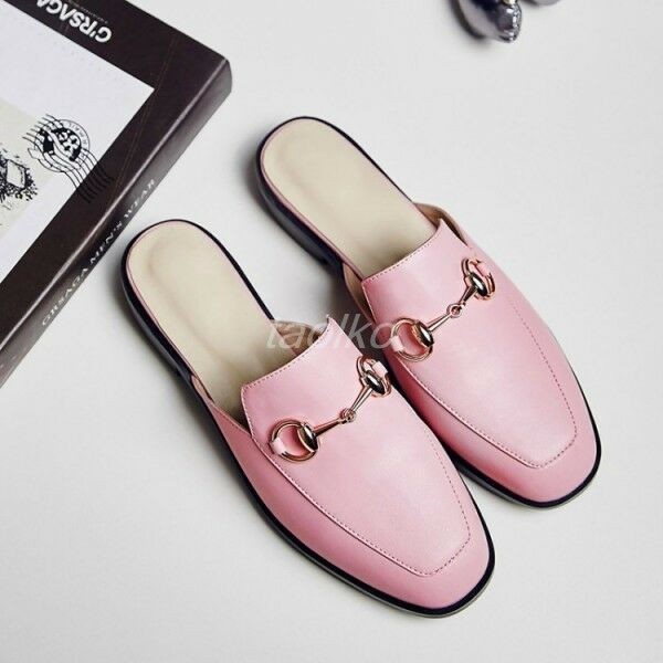 New Occident Womens Flats Low Heels Mules Square Toe Leather Shoes Slippers
