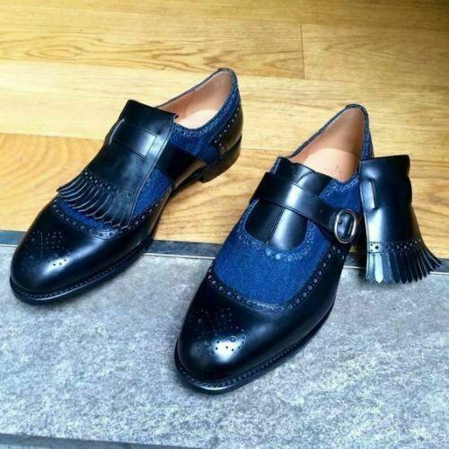 Handgemachte zweifarbige Mönch Mokassins blau Stoff und Leder Slip On Schuhe