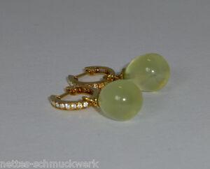 professionelles Design große Auswahl heiß-verkaufendes echtes Details zu Ohrringe Klapp-Creolen Gold Anhänger Prehnit Tropfen 12x10  hellgrün *EO110704