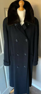 M-amp-S-Long-Wool-Coat-Detachable-Fur-Collar-Lined-Black-Uk-12-Beautiful