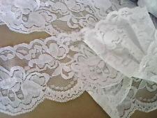 "5 yard Elastic/Spandex White Floral Lace 3"" Wide Trim/vintage/wedding/sewing T67"