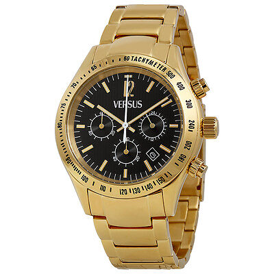 Versus By Versace Cosmopolitan Chronograph Black Dial Gold Ion-plated Mens