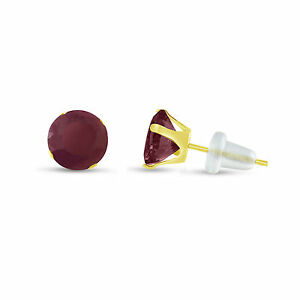 Round-5mm-Genuine-Red-Ruby-10k-Yellow-Gold-Stud-Earrings