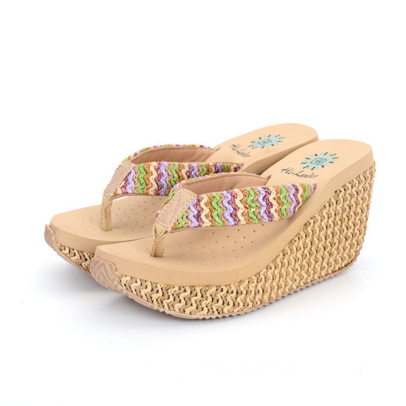 Women's Casual Sandals Slippers Clip Toe Shoes Wedge Platform Beach Flip Flop Beach Platform fbdd3e