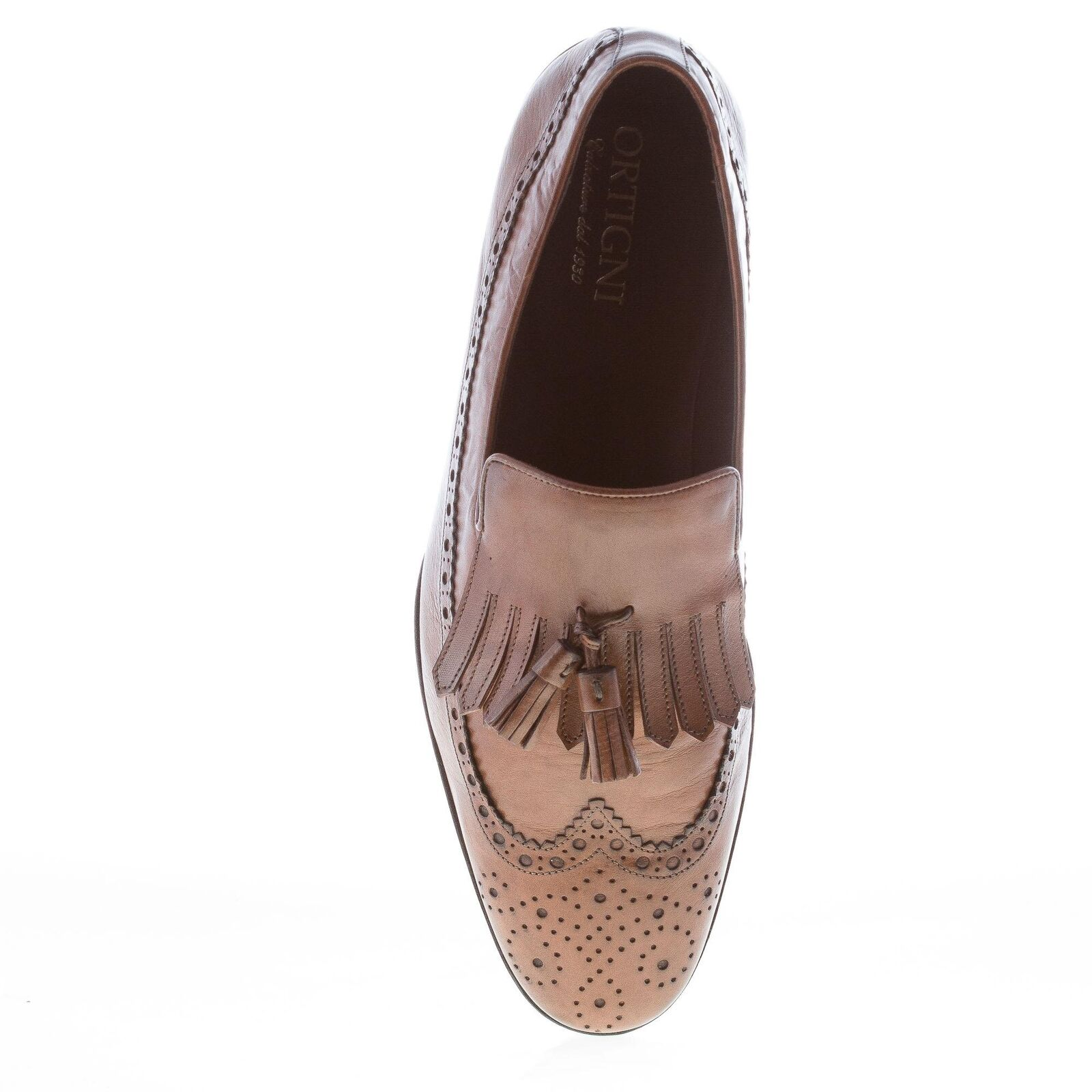 ORTIGNI men schuhe Natural taupe made leather loafer fringe and tassels made taupe in  8c6836