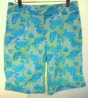 Lilly Pulitzer Crab & Sea Shell Print Bermuda Shorts Chillin Crab Shells Sz 2