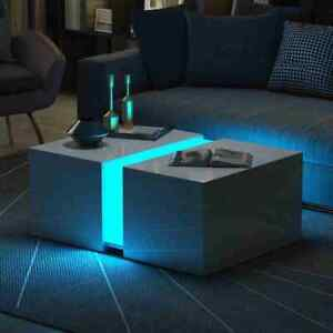 Details About Modern Rgb Led Light Coffee Tea Table High Gloss Living Room Furniture Extending