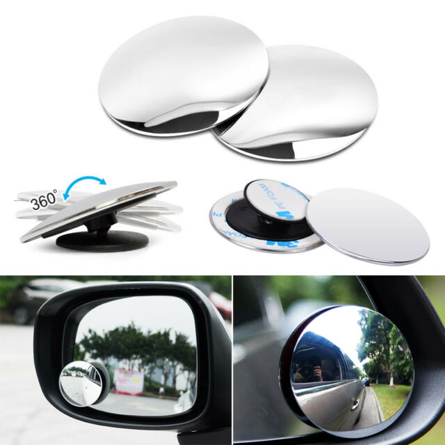 2pcs HD Side View Car Adjustable Blind Spot Wide Angle Rear Round Mirror #1008A