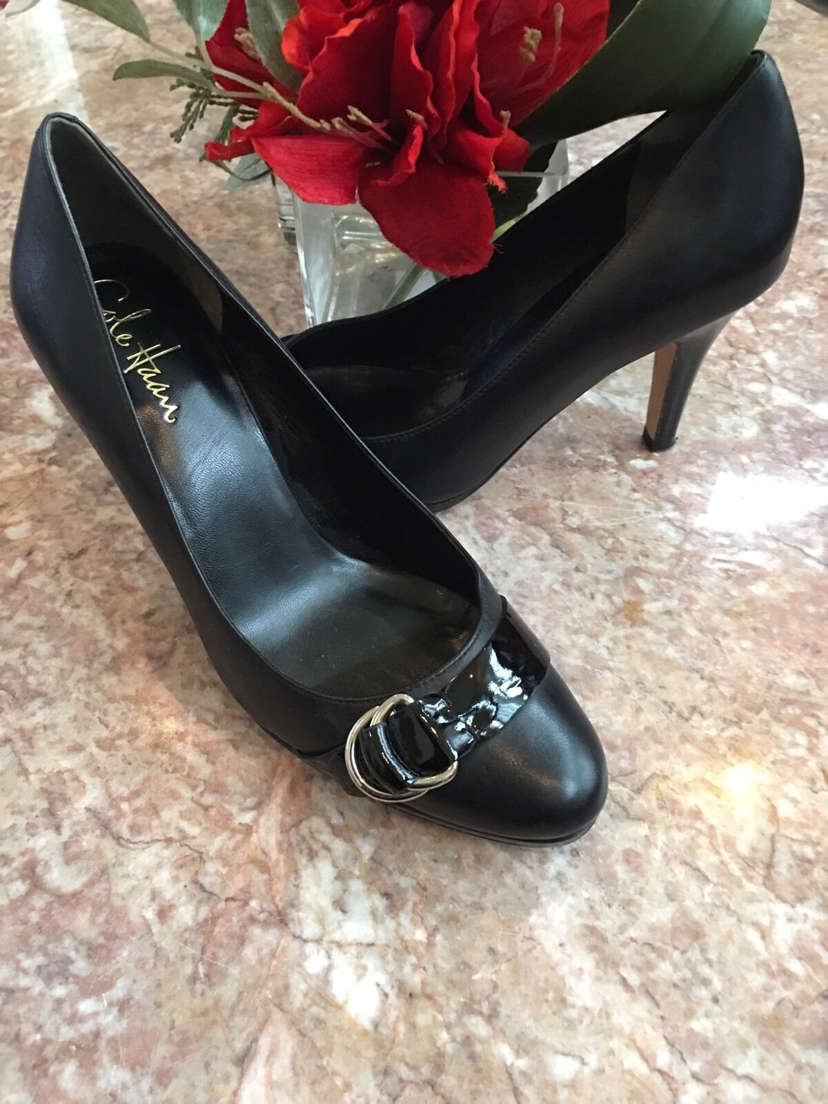 COLE HAAN Air Technology Black Leather Pumps Heels 71 2 B