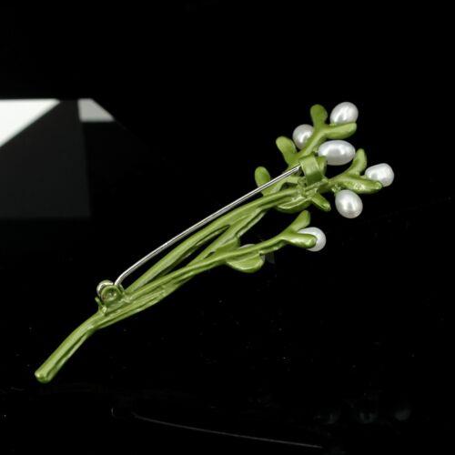 Broche Branche Arbre Herbe Feuille Vert Perle Blanc Fin Retro Class XZ6