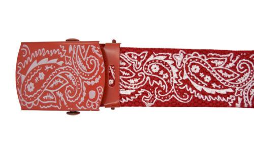 "Canvas Military New Red /""Bandana Pattern/"" Web Belt /& Buckle 48/"",54/"",60/"",72/"""