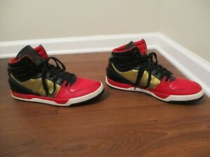 Used-Worn-Size-13-Adidas-Court-Attitude-Shoes-Black-Red-Gold-White