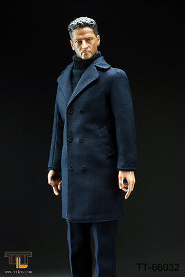 1//6 Scale Mans Trench Coat /& Plaid Shirt Set for 12inch Action Figures DML