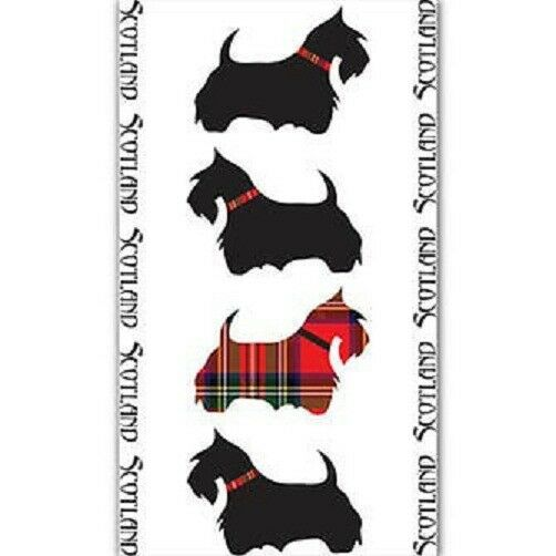 "SCOTTIE DOG SCOTTISH TEA TOWEL ""SCOTTIE DOGS"" 100% COTTON"