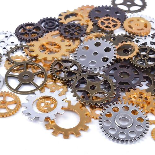 70 Steampunk Gear Charms Spurs Cogs Assorted Lot BULK Bronze Silver Gold Copper