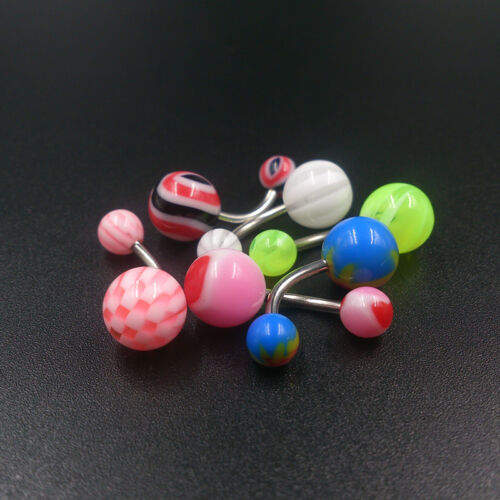 10//30//50 Mixed Ball Barbell Bar Navel Belly Button Ring Piercing Jewelry Fad HIC