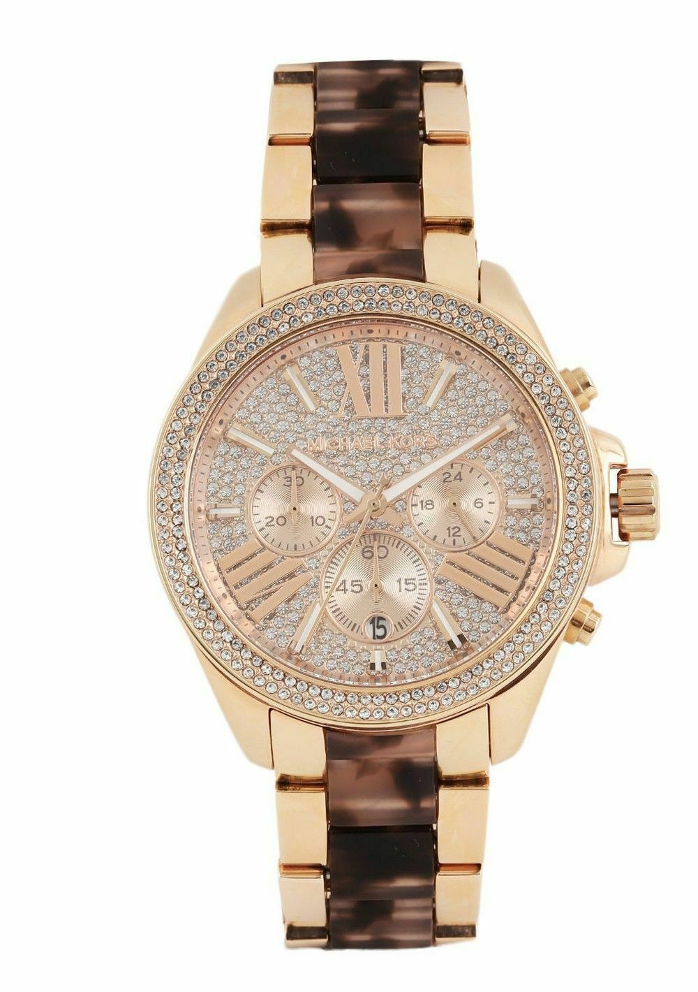 73519d43235b Michael Kors Wren Crystal Glitz Rose Gold Blush Tortoise 42mm Watch ...