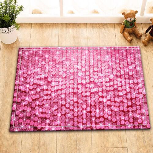 """Pink Flicker Sequins Bathroom Decor Fabric Shower Curtain /&Mat /& Hook Set 72x72/"""""""