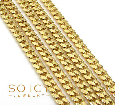 "16-30"" 2.5mm 10k Yellow Gold Solid Cuban Miami Curb Chain Necklace Mens Ladies"