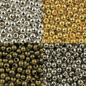 100-x6mm-50-x8mm-Bronze-Gold-amp-Silver-Plated-Metal-Round-Spacer-Beads