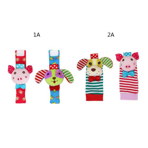 4er Pack Handgelenk Rassel Fuß Finder Socken Baby Rasseln Kleinkind Spielzeug