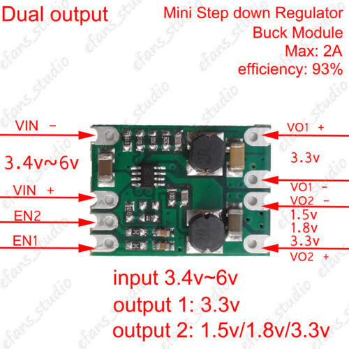 DC-DC Mini Step Down Regulator Converter Power Supply Buck Module Dual Output 2A
