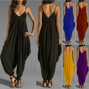fbaaed9e7a Image is loading Summer-Ladies-Baggy-Harem-Jumpsuit-Romper-Sleeveless-All-