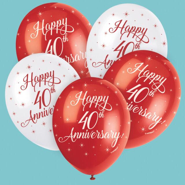 Rubí Feliz 40 Aniversario Bodas Rojo Globos Látex Llenar con Helio o Aire