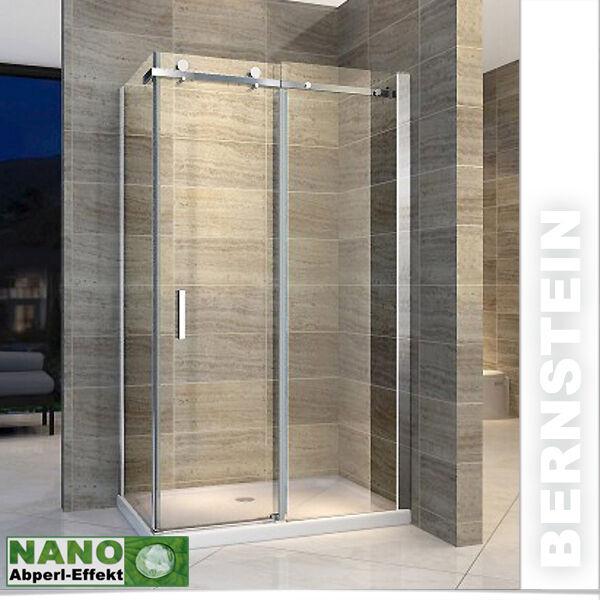 Duschkabine Duschabtrennung Schiebe-System aus Edelstahl NANO ESG- Echtglas Glas