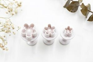 3pc Mini Flowers Blossom Retractable Cookie Cutters// Fondant Plunger Baking Tool