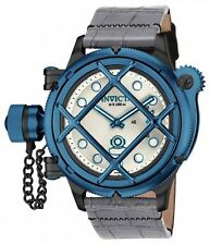 New Mens Invicta 16369 Russian Diver Swiss Mechanical Grey Leather Watch
