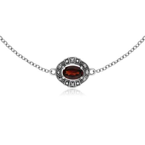 Gemondo Sterling Silver Oval Garnet and Marcasite Cluster Bracelet